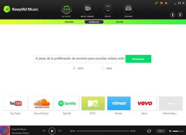 KeepVid Music interface