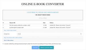 convert mobi to epub online with e-conv
