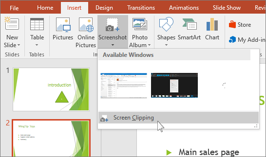 Available Windows section under Screenshot option in Insert menu