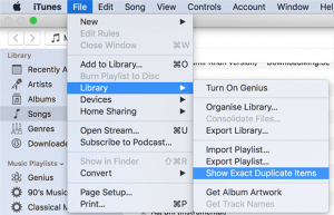 find exact duplicates in iTunes mac