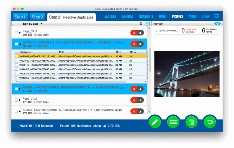 Easy Duplicate Finder scanning results