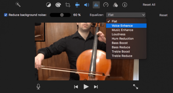 remove background noise from video imovie02
