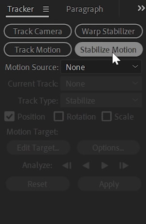 stabilize video after effects