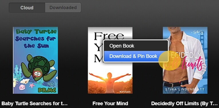 select the download and pin book option