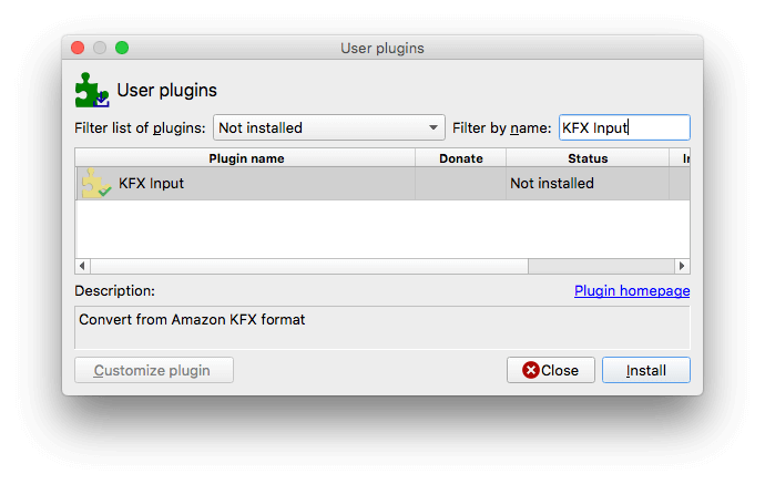 install KFX input plugin in Calibre